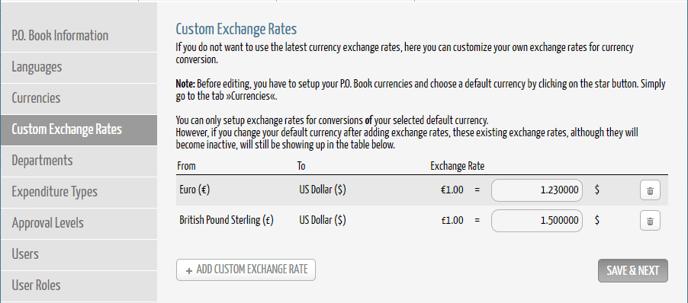 DPO Custom Exchange Rates