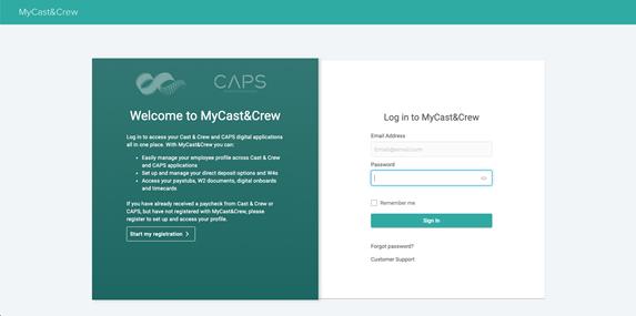 MyC&C landing page